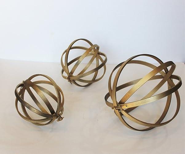Amazon.com: Decorative Orbs Wood Metal Ball Rustic Home Decor ...