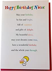 Happy Birthday Niece - Cute Happy Birthday Niece Luxury Greetings Cards by Clarabelle Cards 5 x 7 inches