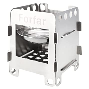 Forfar Estufa de Campaña Portable Hornillo de Acampada Ligero de Leña, Alcohol, Carbón Fogón