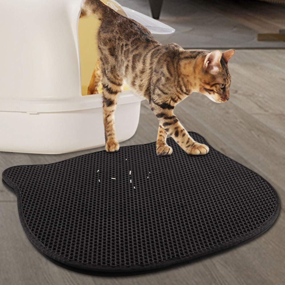 FREESOO Cat Litter Mat Large Double Layer Rubber Feeding Mat Waterproof Cute Outside Trapping Litter Tray Mat Black