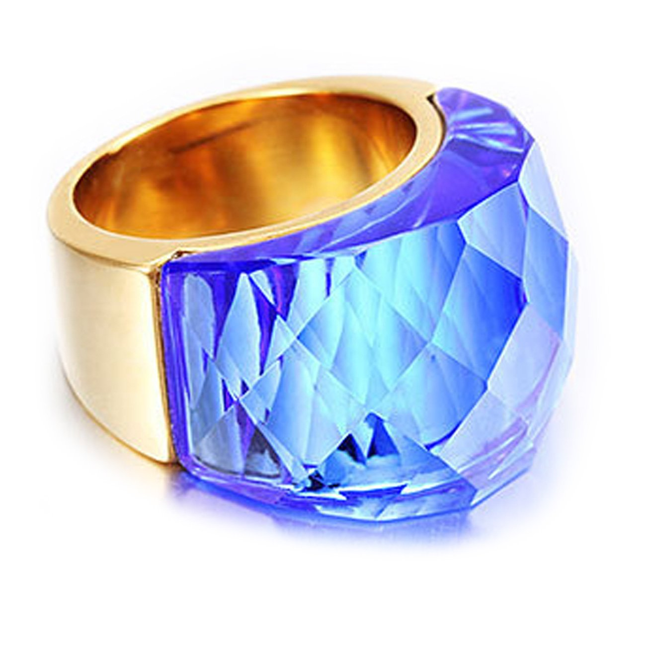 NELSON KENT Women's Stainless Steel Half Pack Transparent Glass Ring Gold Blue Size6