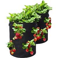 Con 8 bolsas de plantaci/ón laterales Bolsa para Plantas 2 etiquetas de plantas vainilla bolsas de fresa para fresas 2 paquetes 10 Gallon Strawberry Plant Grow Bolsa con Asas flores