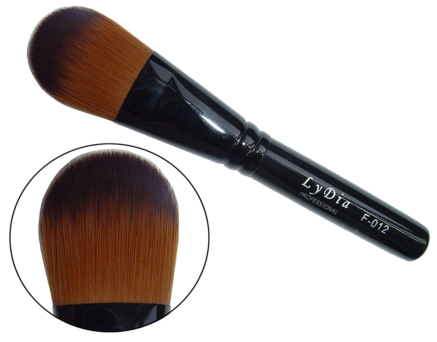 LyDia professional black foundation/concealer/face mask cosmetic makeup brush F-012 (Length: 13.50cm / 5.4 inches) LyDia Beauty Foundation F-012