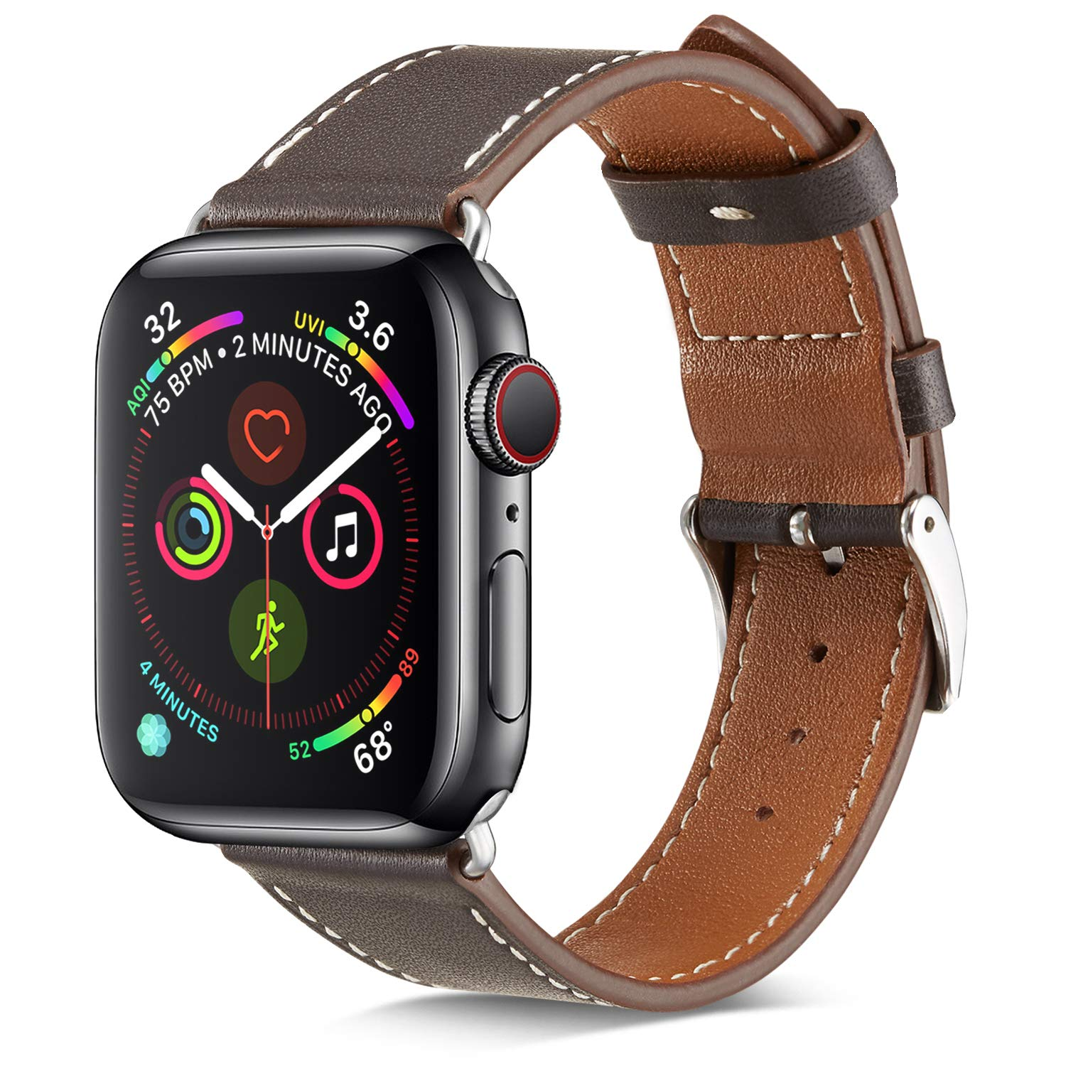 MARGE PLUS Compatible Watch Band, 42mm 44mm Genuine Leather iWatch Strap Replacement Band with Stainless Metal Clasp Compatible Watch Series4 Series 3 Series 2 Series 1 Sport and Edition, Ebony