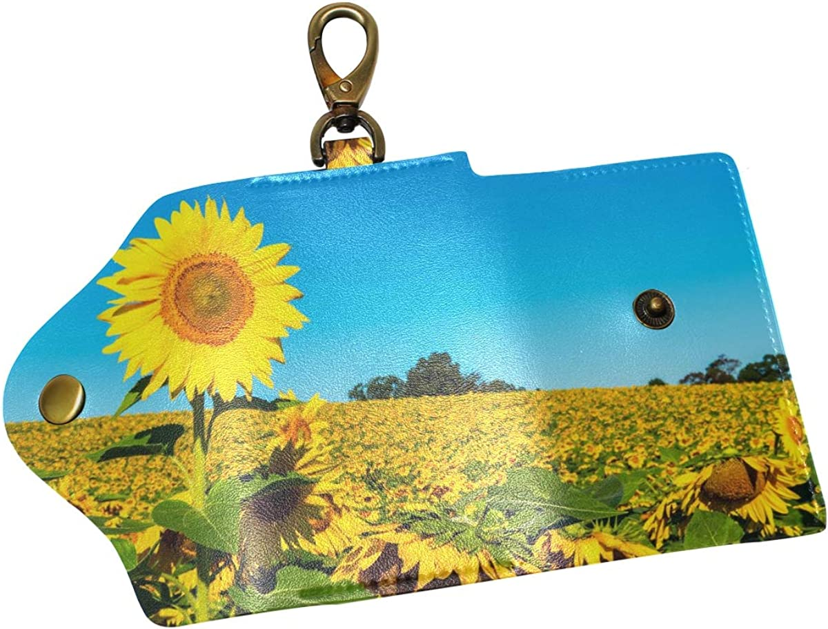 KEAKIA Nature Flowers Leather Key Case Wallets Tri-fold Key Holder Keychains with 6 Hooks 2 Slot Snap Closure for Men Women