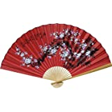"1 X Large 60"" Folding Wall Fan -- Prosperity Blossoms -- Original Hand-painted"