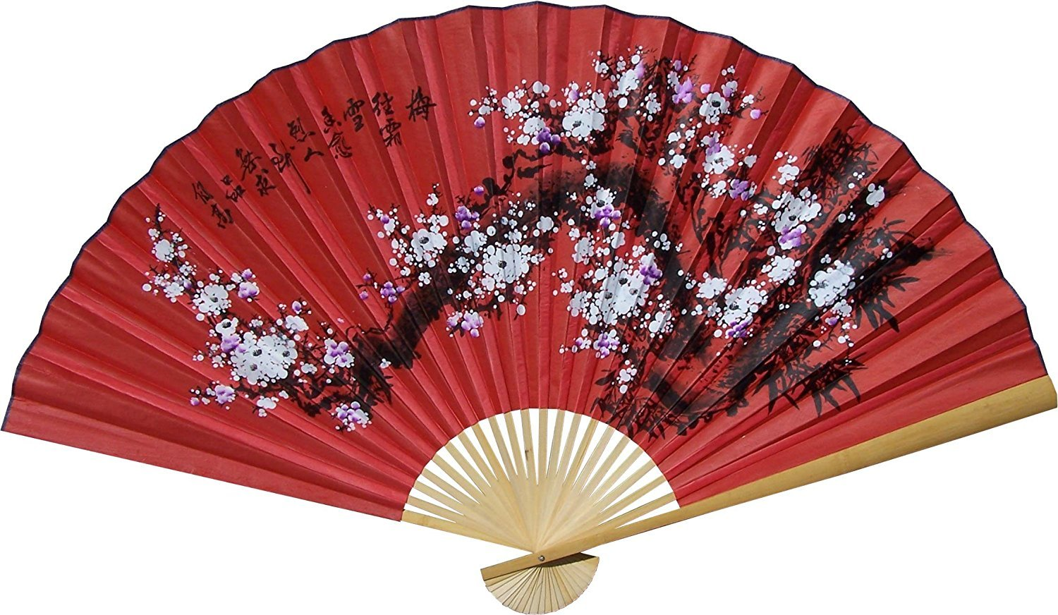 1 X Large 60' Folding Wall Fan -- Prosperity Blossoms -- Original Hand-painted Oriental-Decor 3117-35