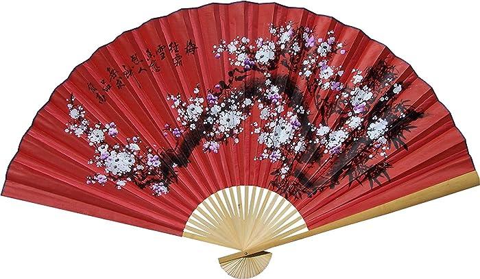 "1 X Large 60"" Folding Wall Fan -- Prosperity Blossoms -- Original Hand-painted"