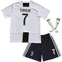 BTA APPAREL 2018/2019 Juventus #7 Cristiano Ronaldo Heim Kinder Fußball Trikot Hose und Socken Kindergrößen