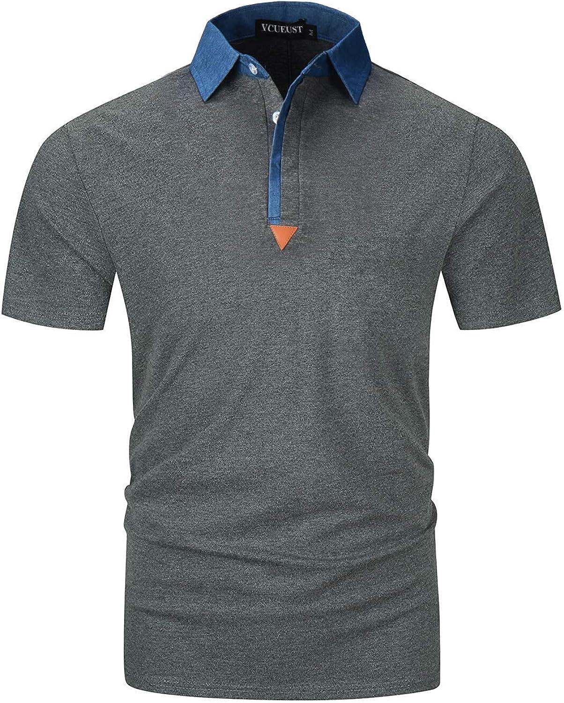 YCUEUST Polo para Hombre Mangas Corta Denim Cuello Camisas ...
