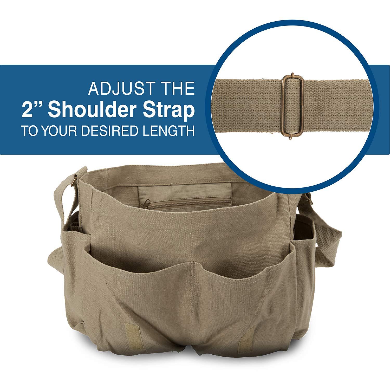 Stonewashed Olive /& Black Three Percenter American Flag Army Heavyweight Canvas Messenger Shoulder Bag
