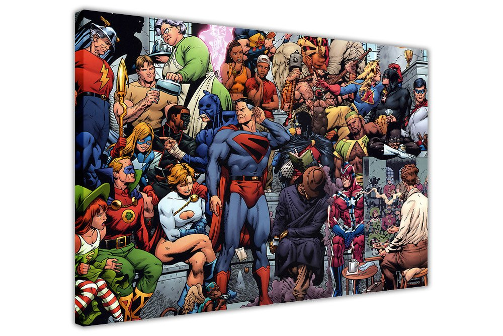 POP ART CANVAS WALL PRINTS PICTURES DC COMICS JUSTICE LEAGUE GROUP ARTISTS PAINTING PHOTO SUPERHEROES ROOM DECORATION SUPERHERO POSTER PRINT PICTURE