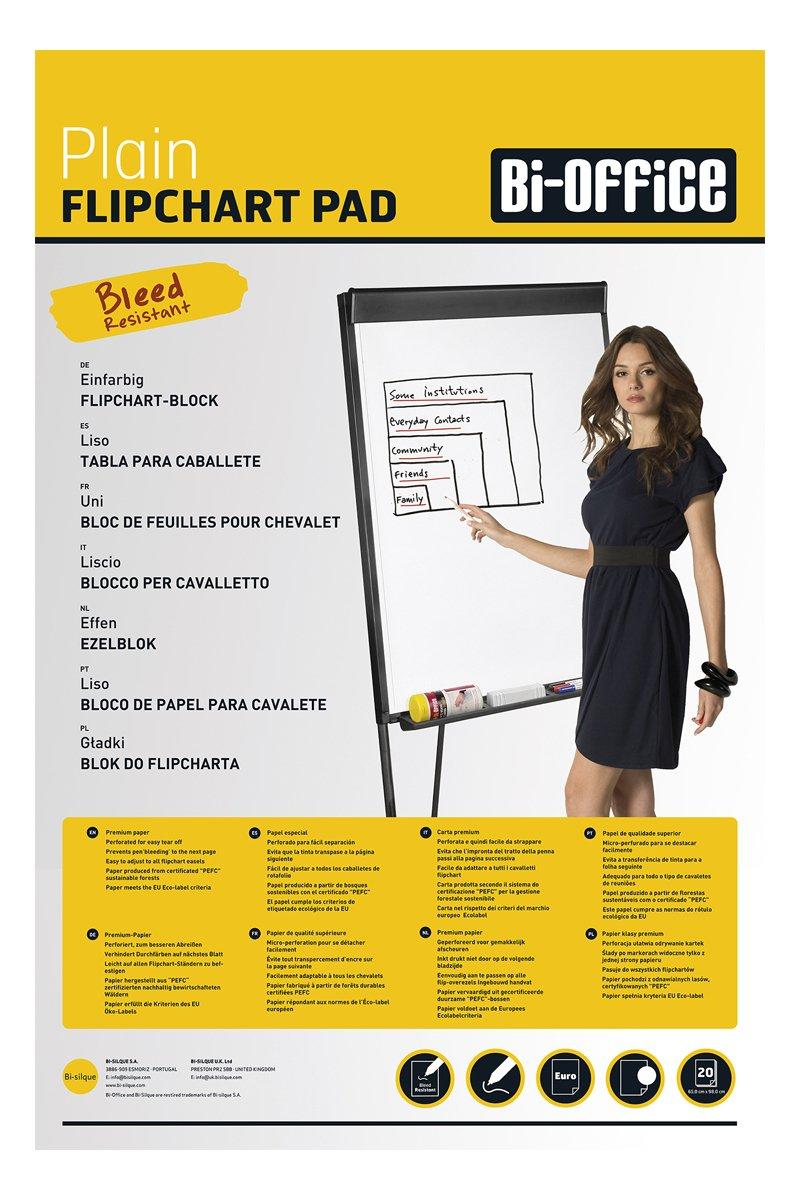 Bi-Office Blocco Per Lavagna di Carta Euro, Bianca, 20 Fogli per Blocco, Lato Superiore Perforato, 55 g/mq, Conf. da 5 Bi-Silque FL032203