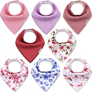 KiddyCare Baby Bibs for Girls 8 Pack - 100% Organic Cotton for Drooling and Teething - Soft & Absorbent Bandana Bibs for Baby Girl - Baby Shower Gift Set