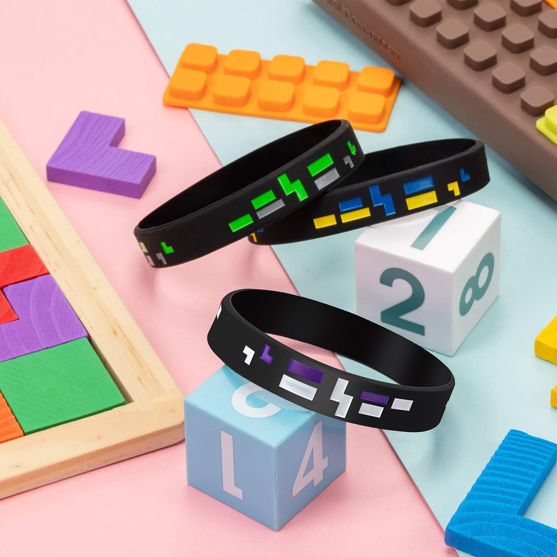 Frienda 15 Set Occhiali da Sole Pixel Gamer Con Pixelati Minatore Stile Pixel Braccialetti Braccialii Pixelato Tema Bracciale Compleanno Festa Forniture per Bambini Adulti