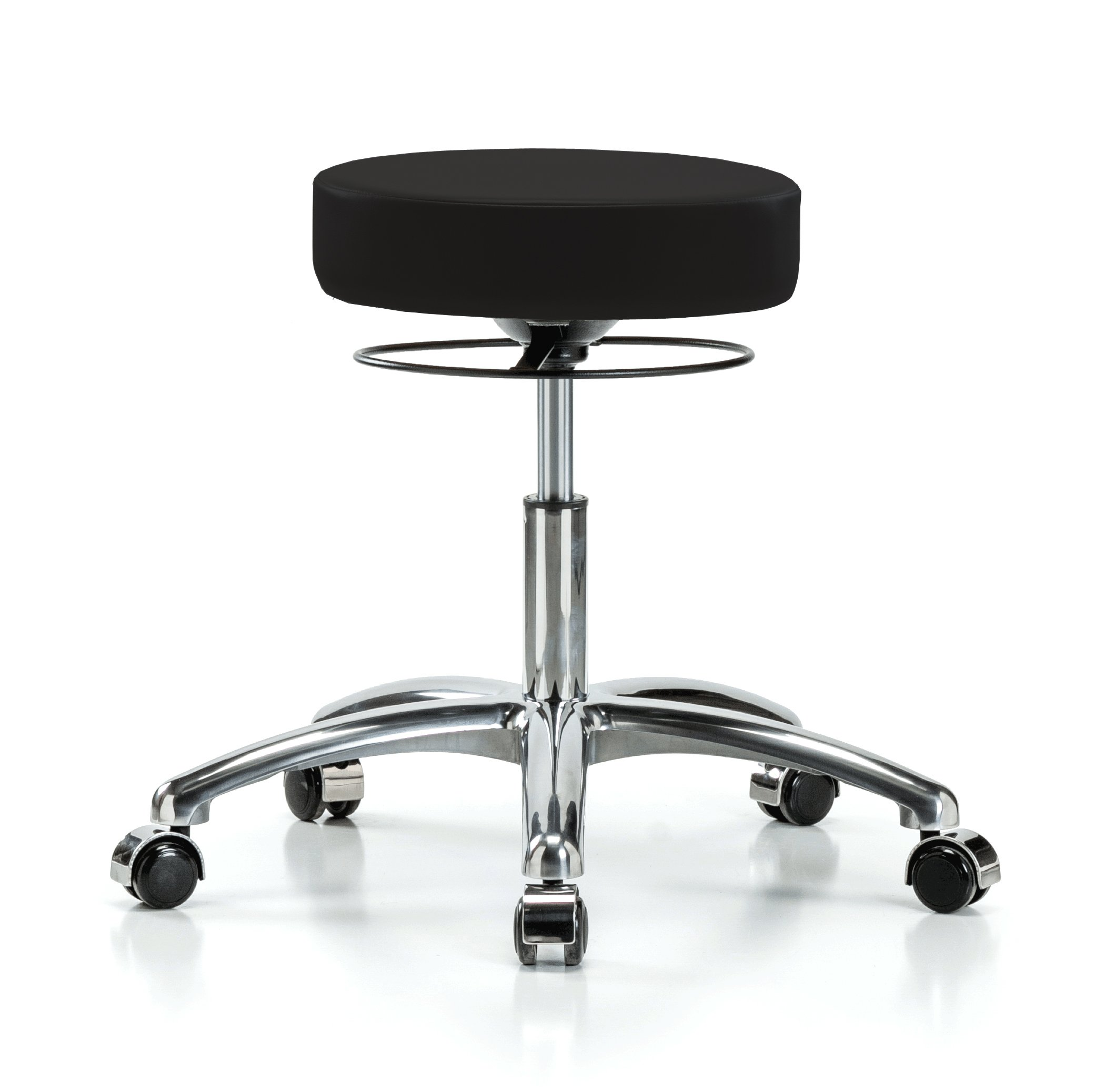 Perch Chrome Stella Rolling Adjustable Stool Medical Salon Spa Massage Tattoo Office 18.5'' - 24'' (Hard Floor Casters/Black Vinyl)