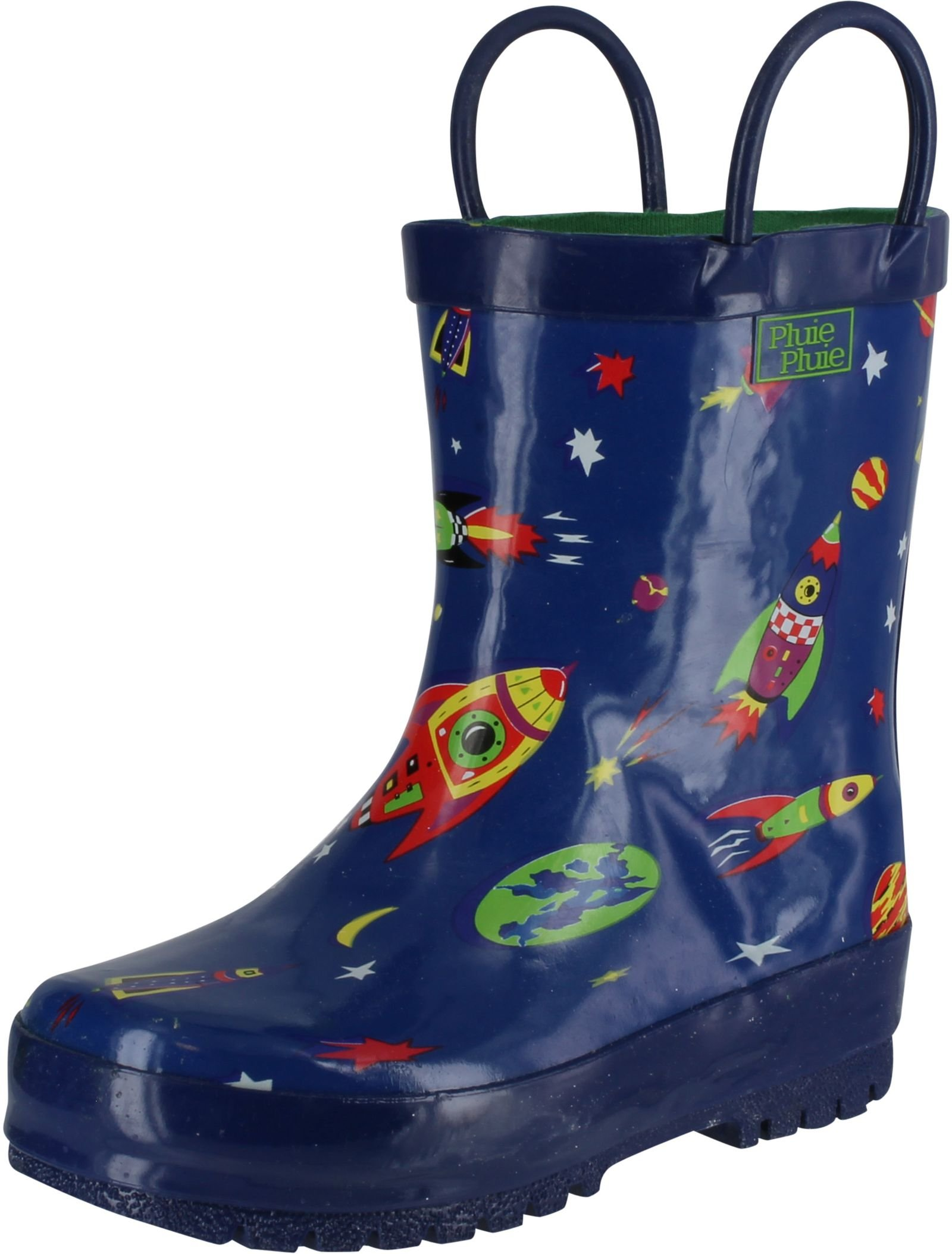 Pluie Pluie Boys Rocket Print Fashion Rainboots,Navy Rocket Print,6