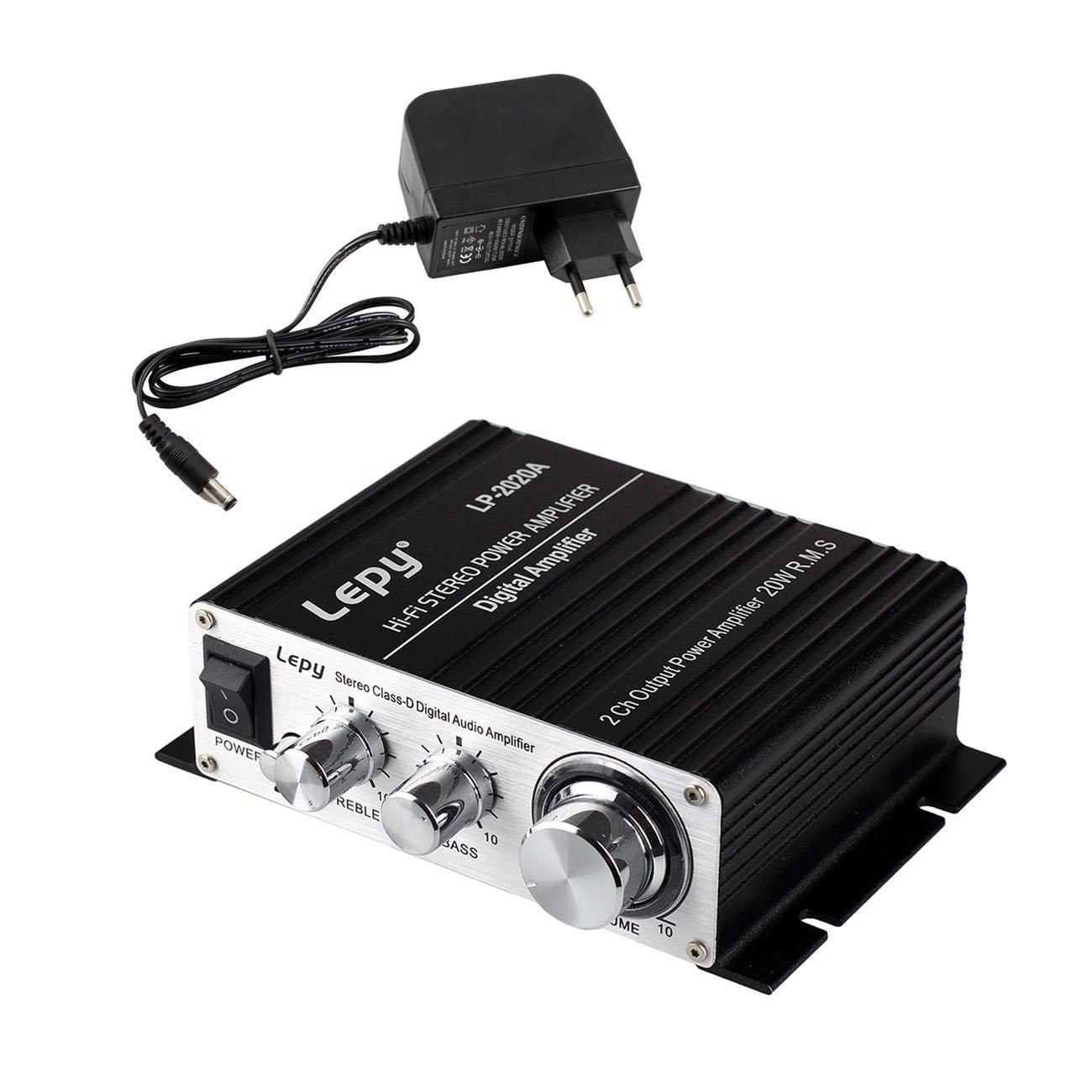 LEPY LP-2020A HIFI (2 x 20W) Amplificador Audio para MP3 MP4 Amplificador Estereo para Telefono Ordenador DAC Fuente de Alimentacion de CA Adaptador de Cargador DC - Negro