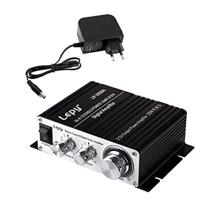 LEPY LP- 2020A + HiFi (2 x 20W) Amplificador Audio para MP3 MP4 Amplificador Estereo para Telefono Ordenador DAC y etc Negro + Fuente de Alimentacion ...
