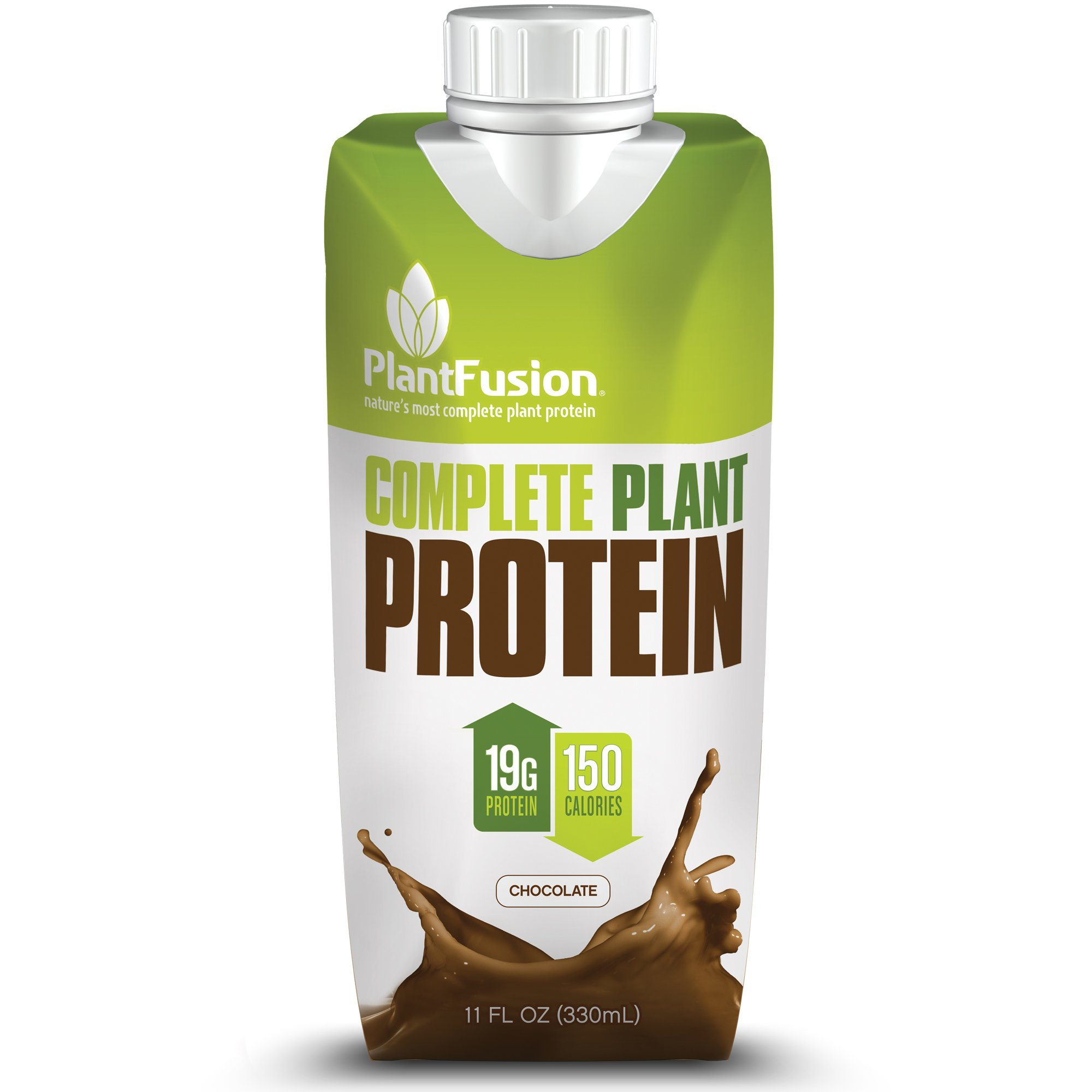 PlantFusion Complete Ready-to-Drink Plant-Based Protein Shake, Chocolate, 11 oz  Carton, 12 Count, 19 g of Protein, 150 Calories, Non-GMO, Gluten Free