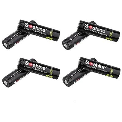18650 Li-ion batterie, 8 pièces 18650 3.7V 3400mAh batterie au lithium-ion rechargeable avec protecteur de carte PCB et boîte de rangement stable pour torche de lampe-torche LED