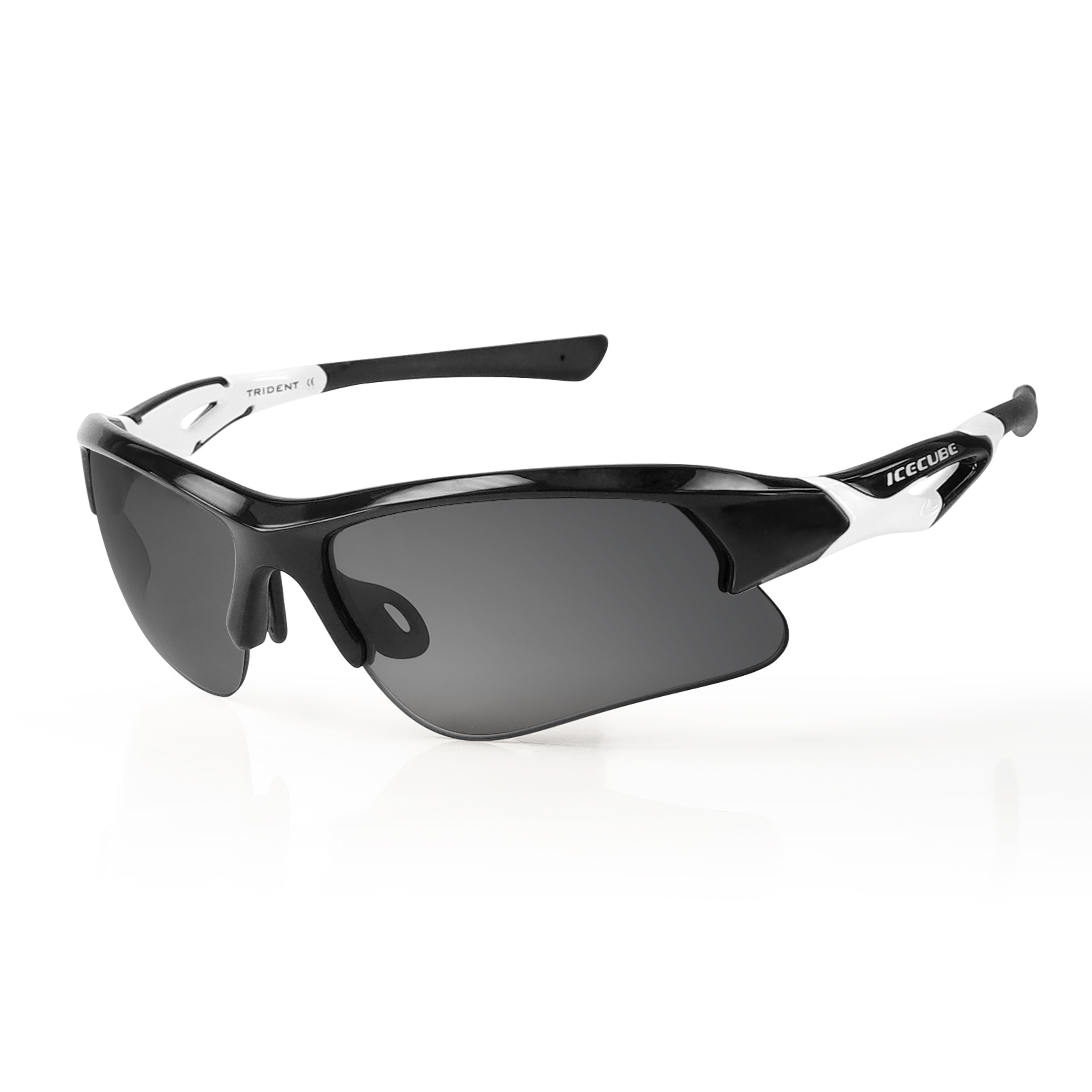 Icecube Unisex Asian Fit Photochromic Polarized Sports Sunglasses | UV Protection | TR90 Ultra Light | Suitable for Running, Driving, Beach, Fishing - TRIDENT (BLK / WHT, Grey Polarized)