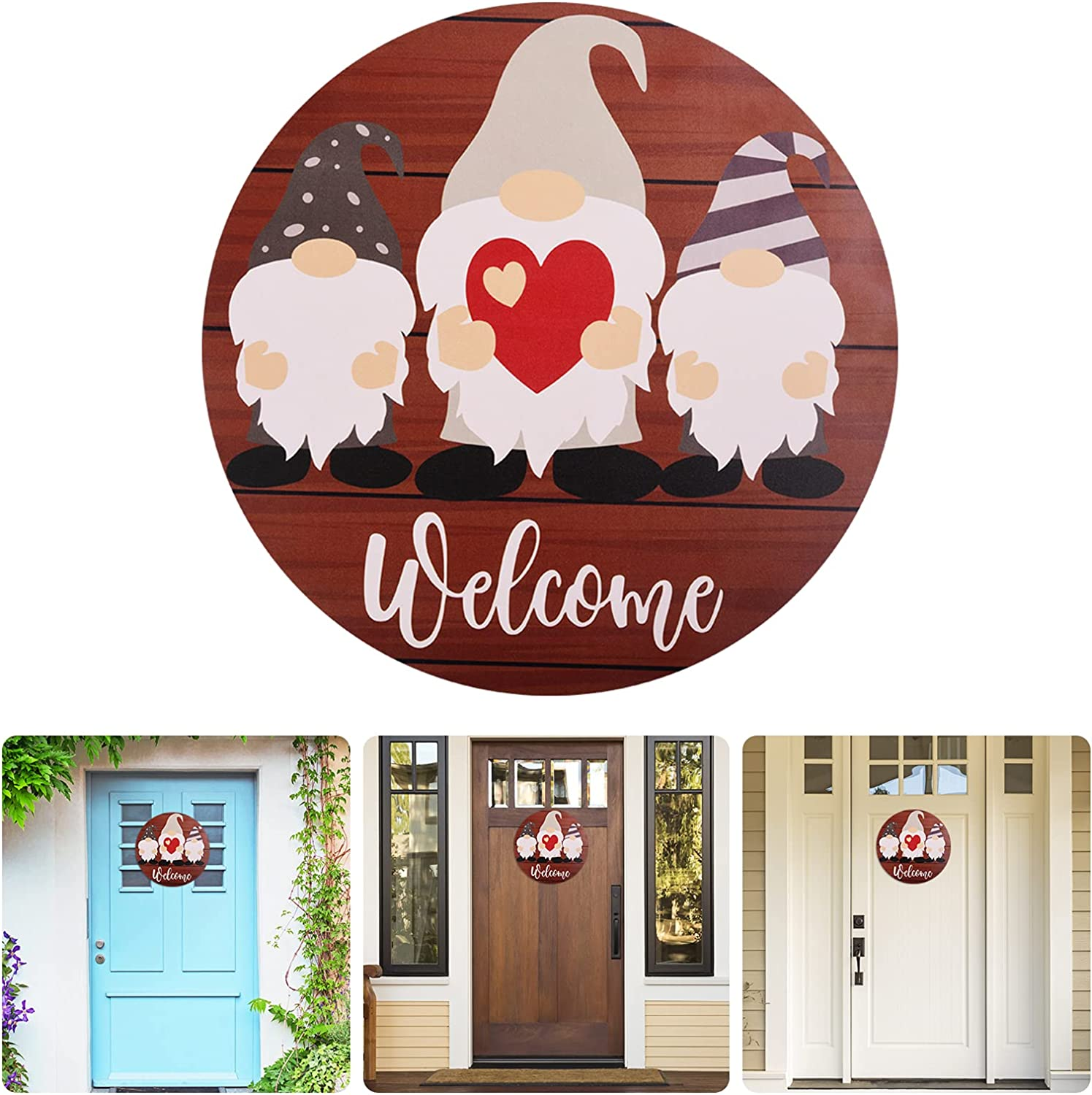 ANASTA Welcome Sign for Front Door, Gnome Welcome Door Sign, Front Door Decor for Farmhouse, Welcome Porch Wall Decorations, Rustic Wooden Welcome Sign, Home Decor for All Seasons