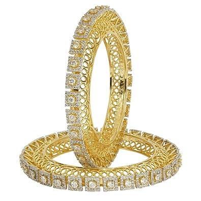 Muchmore Fashionable Silver Tone Diamond Swarovski Elements Indian Bangles Traditional Partywear Jewelry vhdJwS4v6R