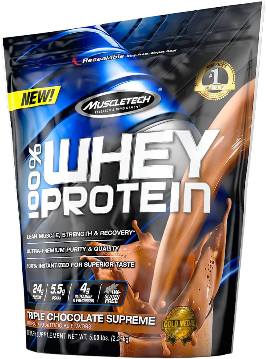 MuscleTech 100 Whey Protein Powder, Triple Chocolate Supreme, 5 Pound