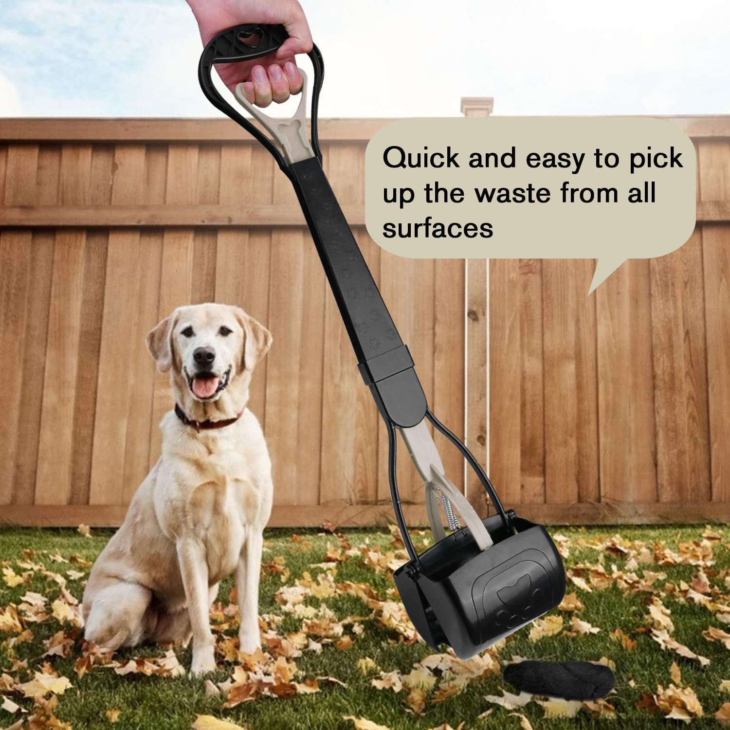 TIMINGILA Long Handle Pet Pooper Scooper for Dogs and Cats with High Strength Material and Durable Spring Easy to Use for Grass, Dirt, Gravel Pick Up (Apricot)