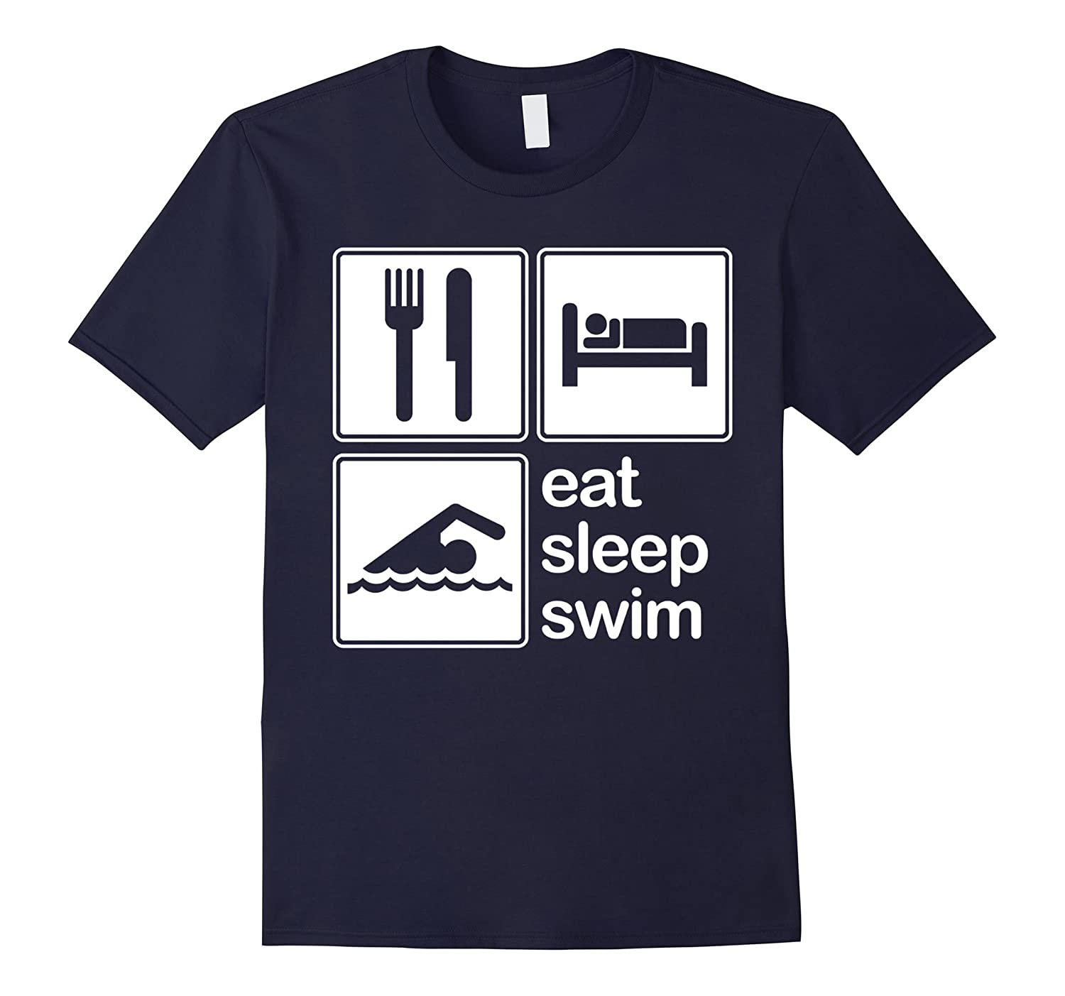 Eat Sleep Swim Repeat Swimming Funny T-Shirt-TH