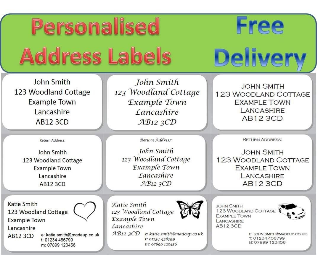 Personalised address labels stickers return address labels 100