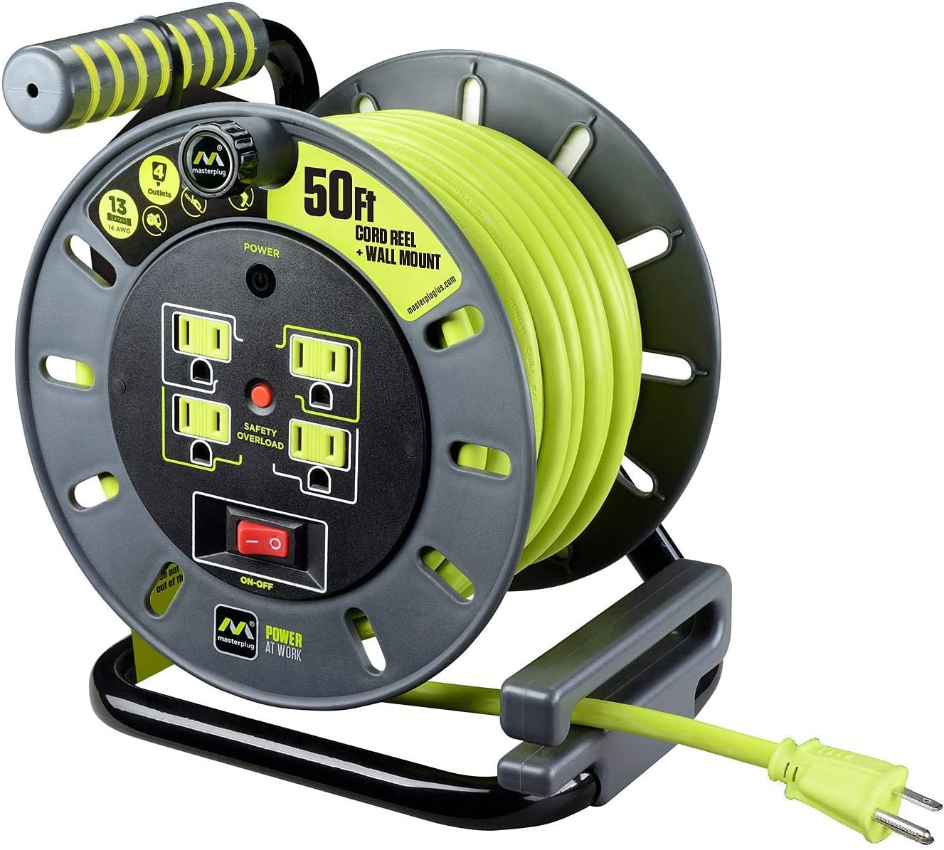Masterplug Extension Cord Reel 50 Ft With Wall Mount Amazon Com