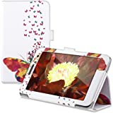 kwmobile Chic synthetic leather case for the Huawei MediaPad T1 7.0/Honor Play Tablet T1 in multicolor dark pink white convenient stand function and Design Butterfly swarm