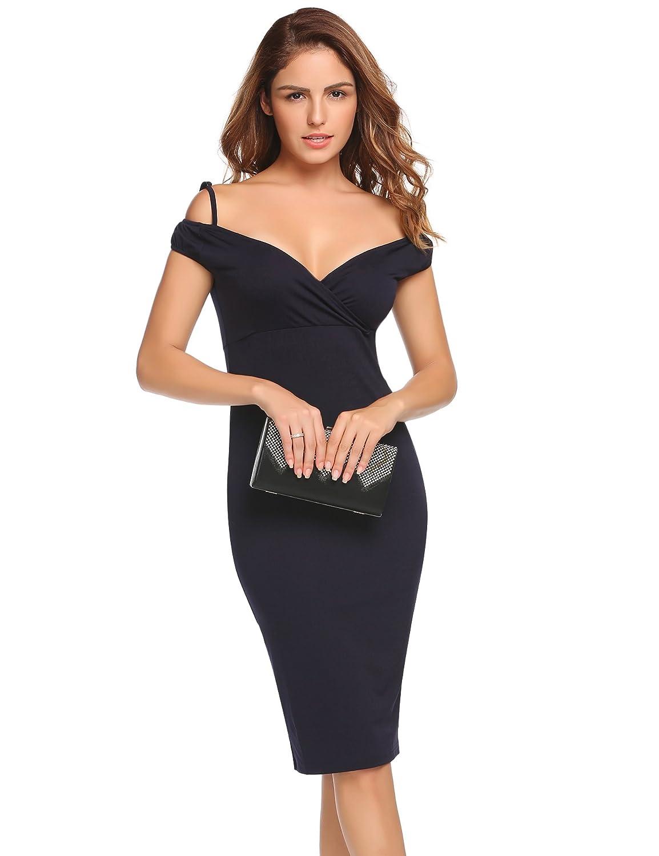 ACEVOG Damen Elegante Abendkleid Spitzenkleid Etuikleid Ärmlos Kurz Minikleid Bodycon Kleider Schwarz Rot Weiß