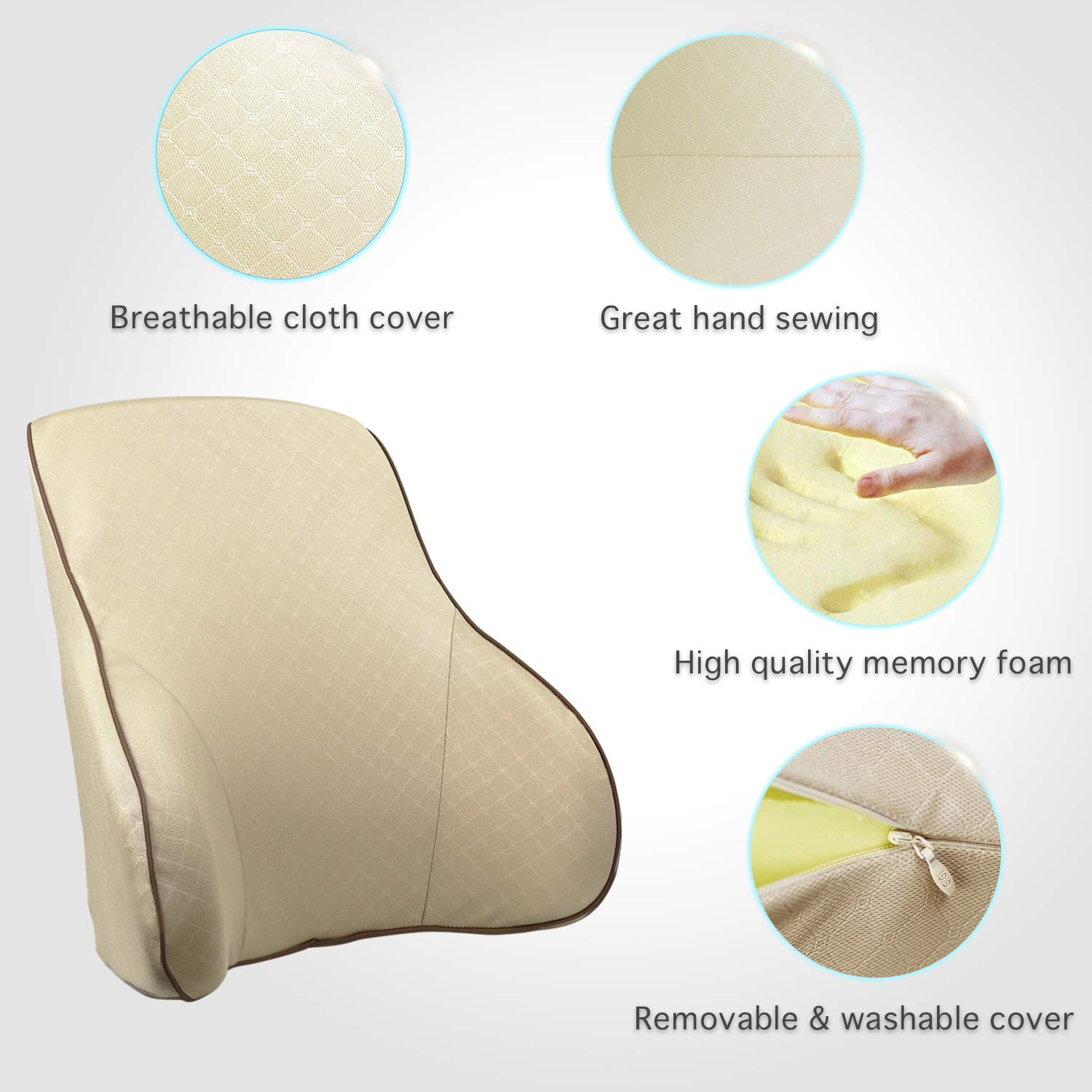 Khaki RaoRanDang Car Seat Lumbar Support with High Density Memory Foam Anti-Slip Particles Washable Cover Back Support Cushion Lower Pain Relief Orthopedic Back Support Pillow