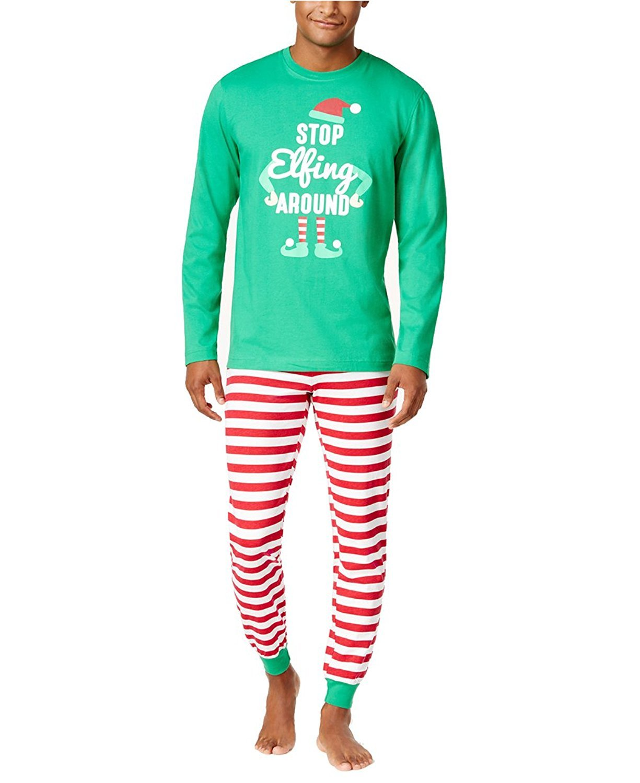 Family Pajamas Men's Elfing Around Pajama Set (Candy Cane Stripe, Large)