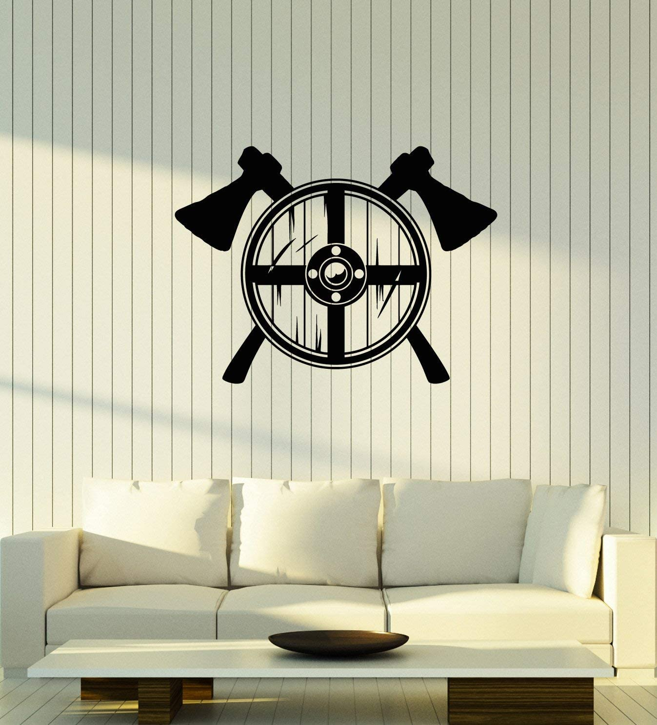 Vinyl Wall Decal Viking Shield Axes Warrior Man Cave Interior Stickers Mural Large Decor (ig5961) Black