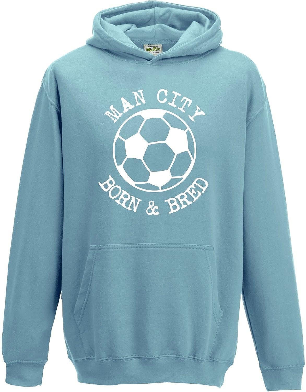 Hat-Trick Designs Manchester City Football Baby/Kids/Childrens Hoodie Sweatshirt-Sky Blue-Born & Bred-Unisex Gift