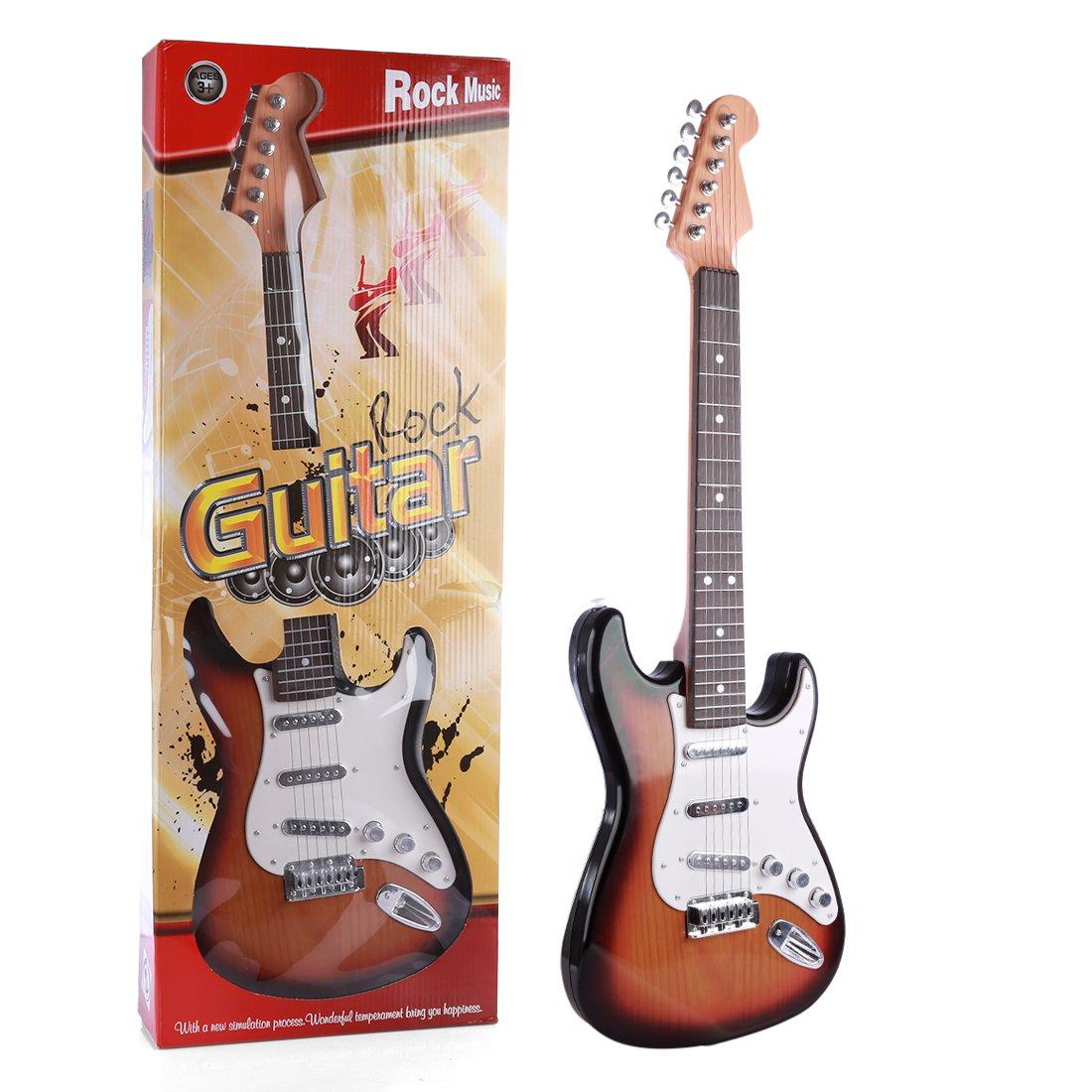 PHYNEDI Guitarra Eléctrica Rock Infantil Set de Guitarra y Micrófono Guitarra Juguete para Niños Instrumentos Musicales: Amazon.es: Juguetes y juegos