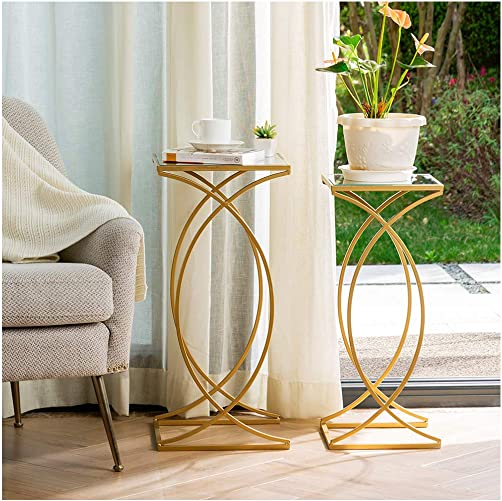 Best living room table: Glitzhome Set of 2 Nesting Coffee Tables Decorative Accent Side End Tables Plant Stand Chair