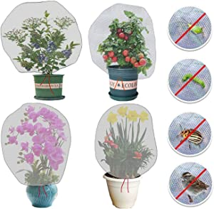4 Pack Garden Netting Insect Bird Barrier Mesh with Drawstring 3.5Ft x 2.3Ft Tomato Protective Cover Plant Bag for Vegetables Fruits Blueberry Flower from Insect Bird Eating