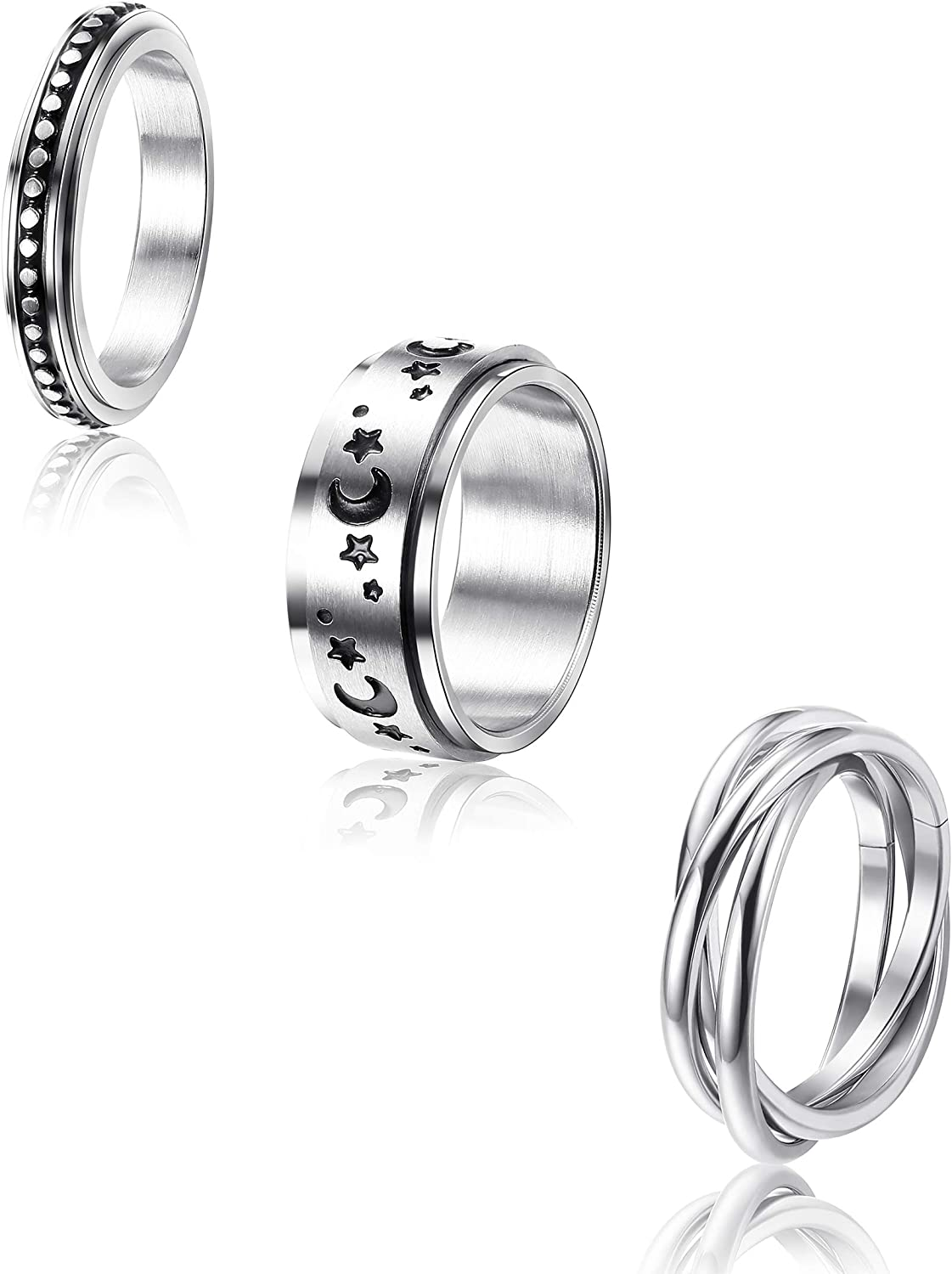 Size 5-12 CASSIECA 3 Pcs Stainless Steel Spinner Ring for Women Mens Fidget Band Cool Rings Moon Star Celtic Stress Relieving Wide Wedding Promise Rings Set