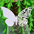 Tarjetas decorativas troqueladas para copas, mesas y souvenir, diseño de mariposa, color blanco, blanco, 110 mm x 70 mm