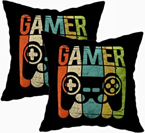 TOMKEY 2 Packs Hidden Zippered 18X18Inch Soft Game Controller case,Gamer Decorative Throw Cotton Pillow Case Cushion Cover for Home Decor,Black Green