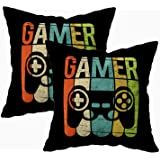 TOMKEY 2 Packs Hidden Zippered 18X18Inch Soft Game Controller case,Gamer Decorative Throw Cotton Pillow Case Cushion…