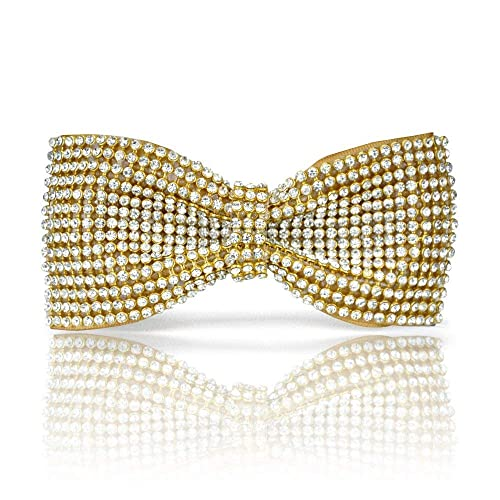 3d509308a650 Amazon.com: Gold bow tie, Gold Crystal bow tie, Gold Rhinestones bow ...