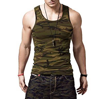 Amazon.com: XShing Mens Cotton Gym Camo Tank Tops Compression ...