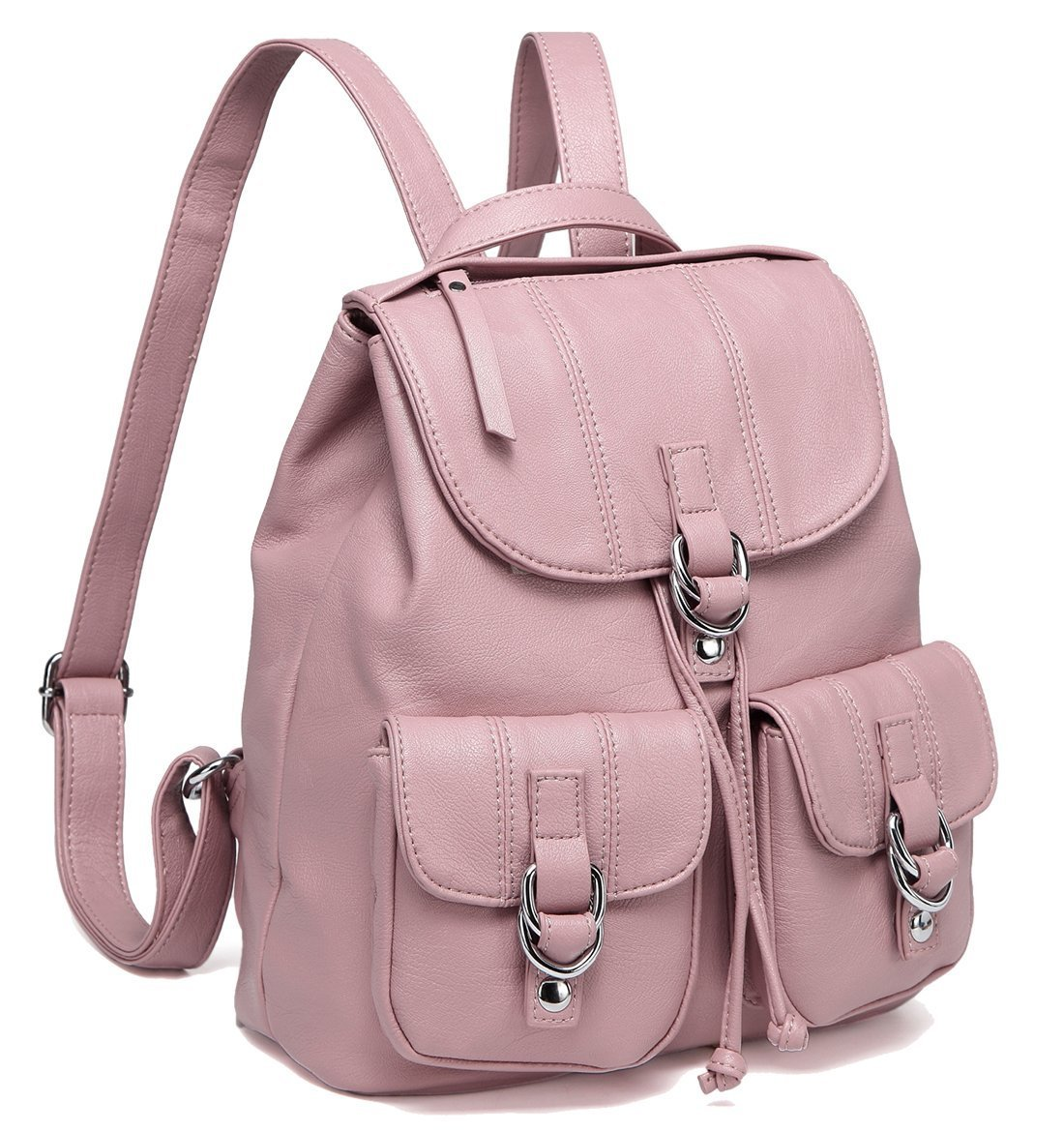 Backpack Purse for Women,VASCHY Fashion Faux Leather Buckle FlapDrawstring Backpack for College with Two Front Pockets Pink