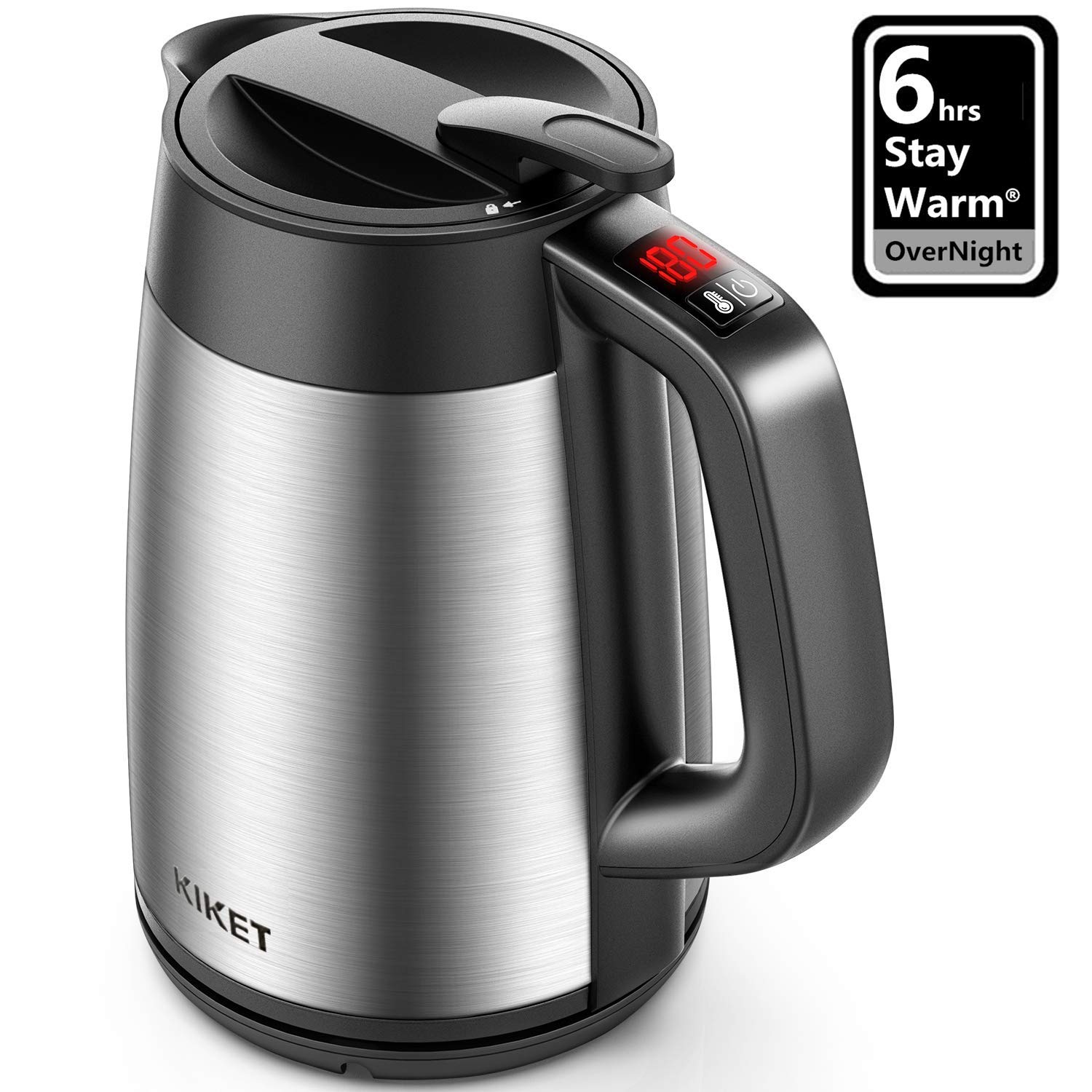 Electric Kettle Temperature Control Insulation Electric Tea Kettle for Overnight Keep Warm, 1.7L Cool Touch Water Kettle with Food Grade 304 Stainless Steel and 1500W Rapid Boil System, BPA free, KiKet